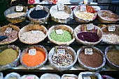 Pulses on a market stall in Italy