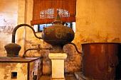 Ancient distillation of brandy in the Bodega Gonzalez-Byass