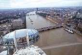 View of Thames river and cityscape of London from London Eye