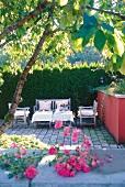 Sitting area on terrace of Hotel Villino, Lake Constance, Lindau, Germany