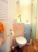 Bad, WC mit gefliester Rückwand, HAndtuchwärmer an der wand