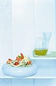 Reis-Basilikum-Salat mit Garnelen, Dressing, zum Abnehmen