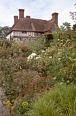 Various types of plants in front of Great Dixter