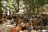 View of market in summer, Place Richelme, Aix-en-Provence, Germany