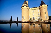 The Chateau de Mercues surrounded by water, Cahors, France