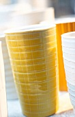 Close-up of yellow porcelain cup