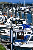 Motor boats moored at the port of Hornum, Sylt, Germany
