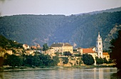View of Durnstein on Danube river, Austria