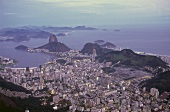 Aerial view of cityscape of Rio de Janeiro at dusk, Brazil