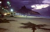 View of Ipanema beach at dusk, Rio de Janeiro, Brazil