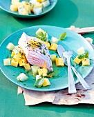 Lachs mit Kohlrabi-Kartoffel-Gemüse