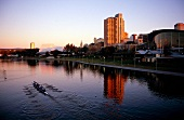 View of Torrens River and skyscrapers in Adelaide, Australia