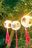 Lampions, Lampenschirme auf Gartenfest, abends, beleuchtet