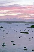 Blick über Fischerboote auf das Meer bei La Houle im Abendrot
