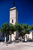 Clock tower at village square in Montpeyroux, Languedoc, France