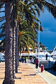 People at harbor promenade in Portals Nous, Mallorca, Spain