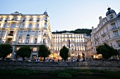 View of illuminated Grandhotel Pupp at Karlovy Vary, Czech Republic
