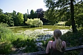 View of lake in Botanical Garden in North Rhine-Westphalia, Germany