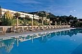 View of Casadelmar swimming pool in Porto-Vecchio, Corsica, France