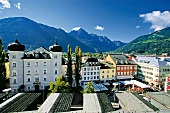 View of Lienz main square and Dolomites in Tyrol, Austria