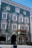 Facade of a old house with stucco, Passau, Germany