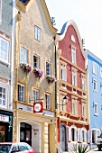 Colourful houses in market square at Passau, Germany