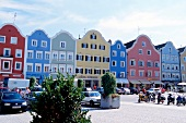 View of colourful houses in marketplace at Passau, Germany