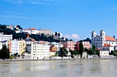 View of old town and St. Michael church near river Inn, Passau, Germany