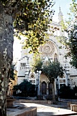 Facade of gothic church in Soller, Majorca island, Spain