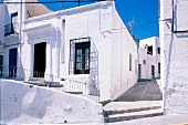 Whitewashed houses and narrow streets in Nijar, Almeria, Spain