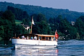 Tourists sailing on boat in Lake Hallwil, Switzerland