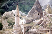 Steeple of mosque tower in the mountains, Turkey