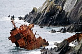 Stranded ship on the coast of Dingle Peninsula in southwest Ireland