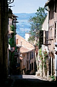 View of medieval street in Cordes, France
