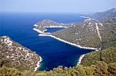 Bewaldete Insellandschaft aus Vogelperspektive, Insel Lastovo