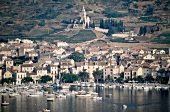View of port and town of Vis island in Croatia