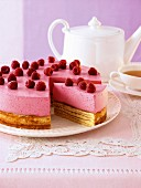 Raspberry Baumkuchen (German layer cake)