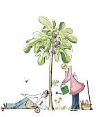 Mann und Frau in einem Garten, Liegestuhl, Gießkanne, Feigenbaum