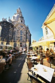 View of people in cafe in Coselpalais of Frauenkirche, Dresden, Germany