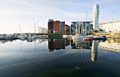 View of Marina with Twisted Torso skyscraper in background, Malmo, Sweden