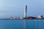 View of Turning Torso skyscraper in Malmo, Sweden