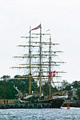 Sailing ship of George Stage moored at port of Copenhagen, Denmark