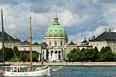 View of Amalienborg Palace and Marble Church in Copenhagen, Denmark