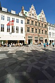 People at shopping street in Amager Square, Copenhagen, Denmark