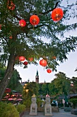 Lanterns on a tree at Tivoli Gardens, Copenhagen, Denmark
