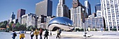 Panoramic view of Cloud Gate in Millennium Park, Chicago, Illinois, USA