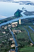 Aerial view of Venetian Lagoon, Venice, Italy