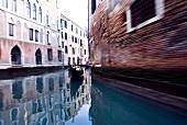 Gondola in the canals of Venice, Italy, blurred motion
