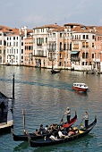 Tourists enjoying gondola ride in Grand Canal, Elevated View, Venice, Italy