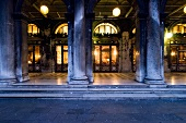 Pillars in front of Cafe Florian at Saint Mark's Square in Venice, Italy